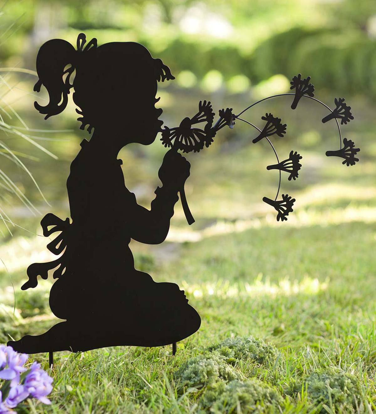 Girl With Dandelion Silhouette Black Metal Garden Stake