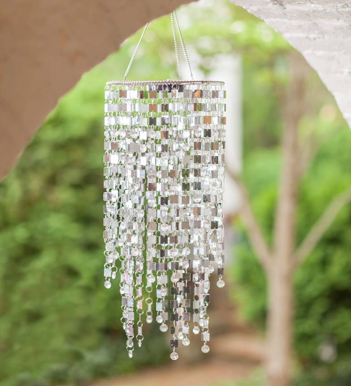 Silver Mirrored Outdoor Chandelier with Solar Lights