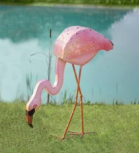 Metal Flamingo with Head Down