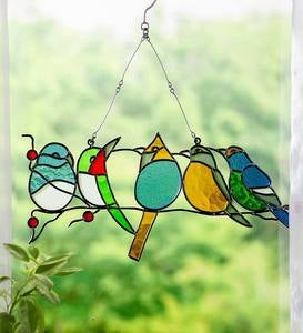Stained Glass Birds Hanging Window Art