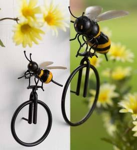Metal Bee on Unicycle Wall Art
