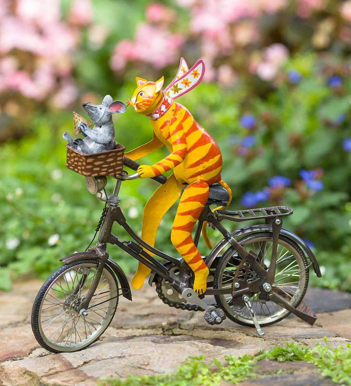 Cycling Cat and Mouse Metal Sculpture