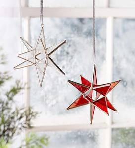 Stained Glass Moravian Star Ornament with Hanging Ribbon