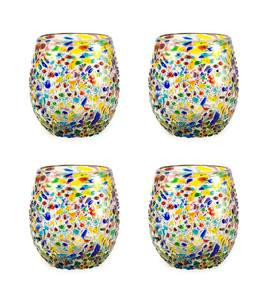 Handcrafted Recycled Glass Confetti Stemless Wine Glasses, Set of 4