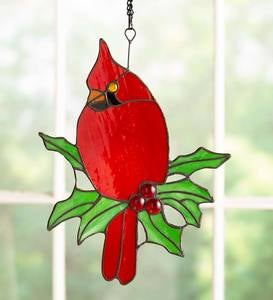 "Stained Glass Cardinal Sun Catcher with 11"" Hanging Chain"
