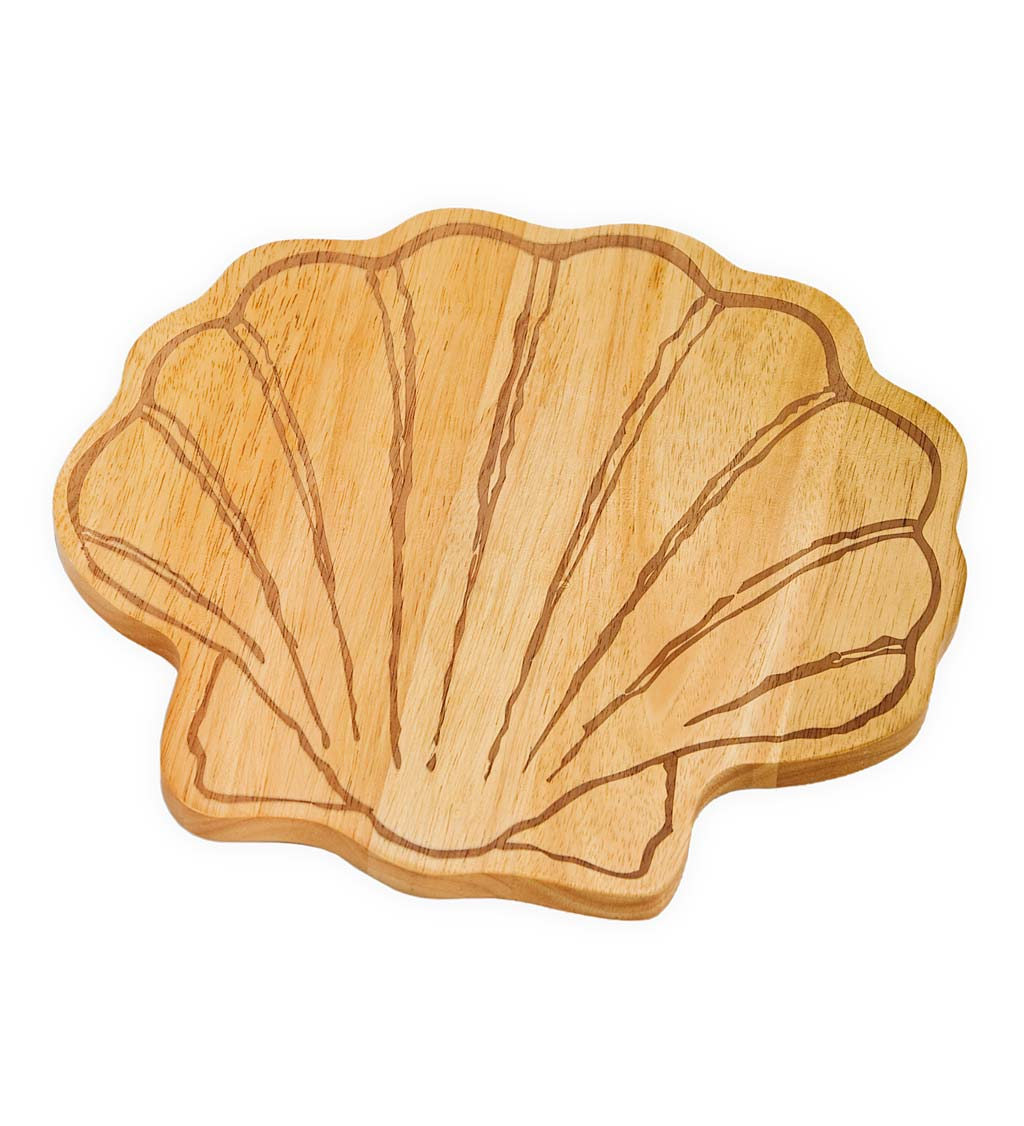 Hand-Carved Wooden Seashell Serving Board