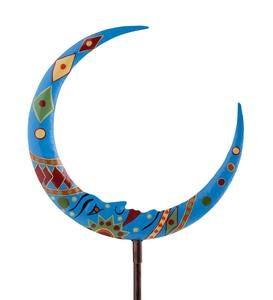 Metal Man in the Moon Garden Stake - Multi-Colored