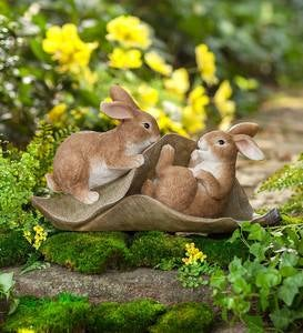 Two Bunnies on a Leaf Figurine