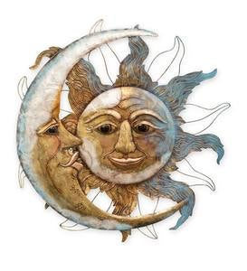 Metal and Capiz Sun and Moon Wall Art