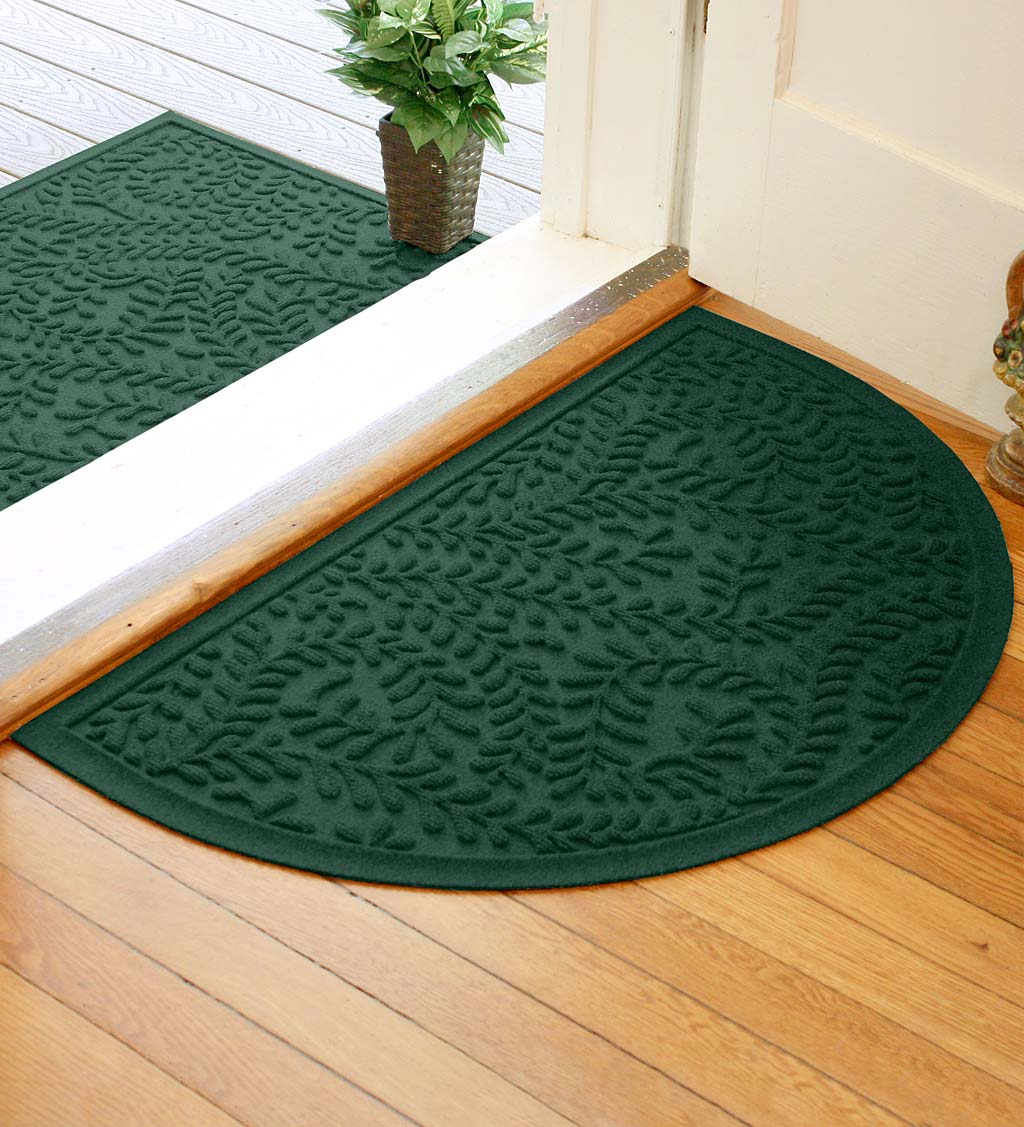 "Waterhog Indoor/Outdoor Leaves Half-Round Doormat, 24"" x 39"" - Bluestone"