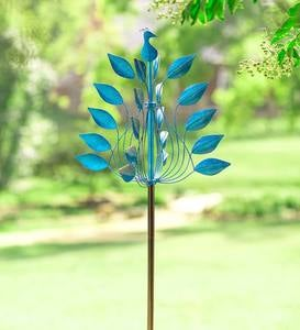 Cobalt Leaves Metal Peacock Wind Spinner