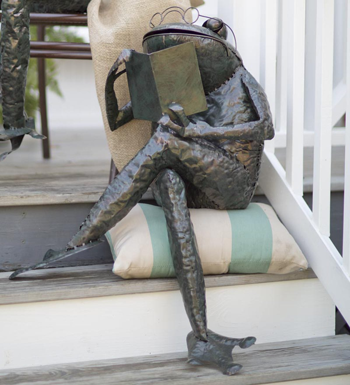 Reading Frog Metal Yard Sculpture