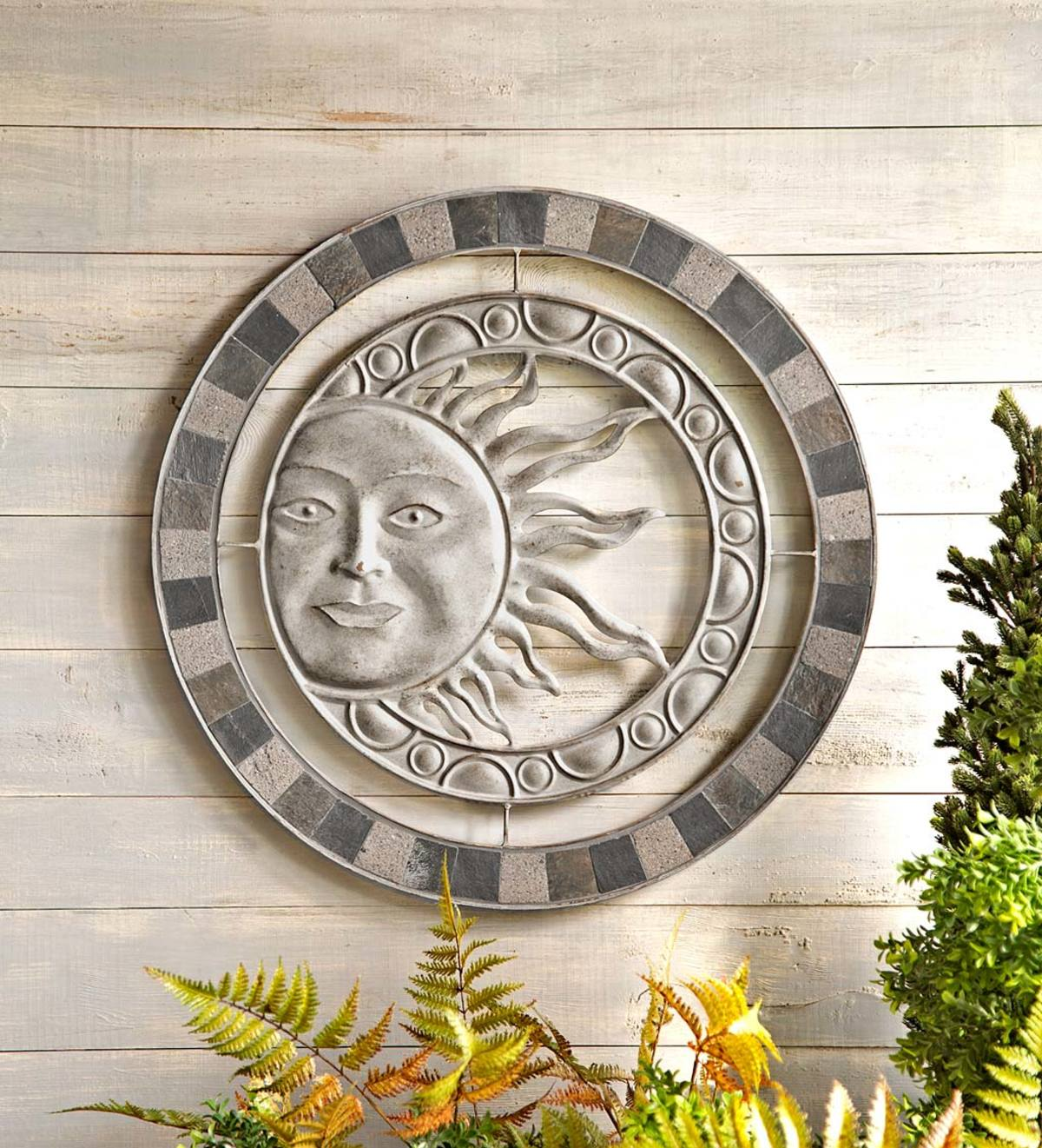 Metal and Stone Sun Wall Art