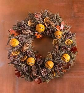Handcrafted Orange and Pinecone Aromatic Fall Wreath