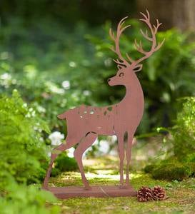 Laser-Cut Metal Deer Silhouette with Rusted Finish