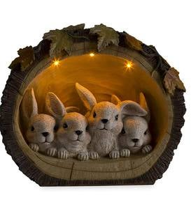 Bunnies in a Log Figurine