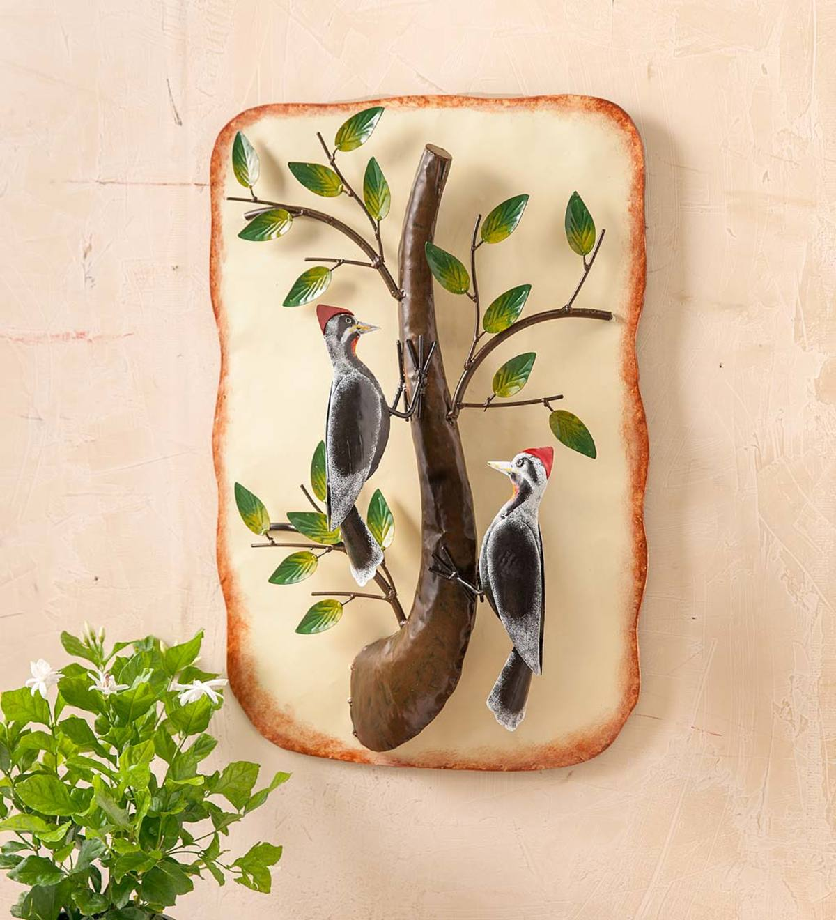 Two Woodpeckers on a Branch Metal Wall Art