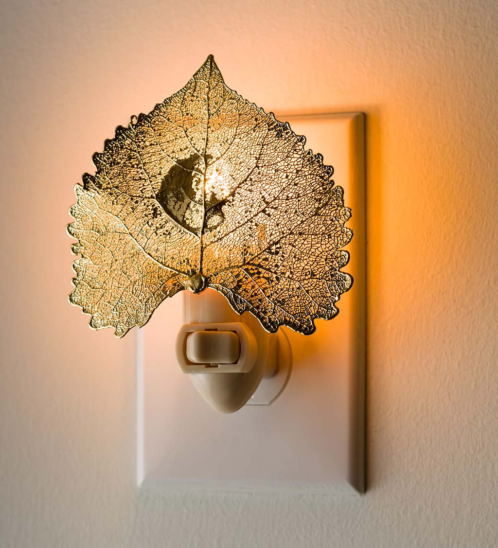 Handcrafted 24K Gold Preserved Cottonwood Leaf With Crescent Moon Nightlight