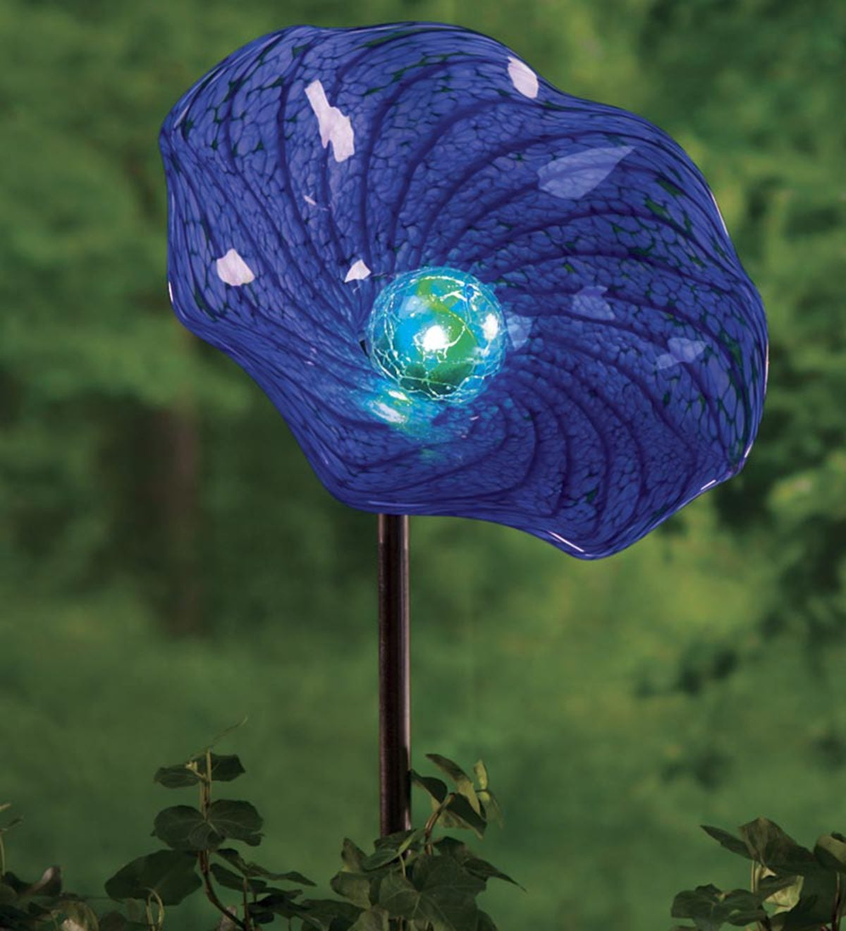 Solar Hand Blown Glass Flower Garden Stake - Blue