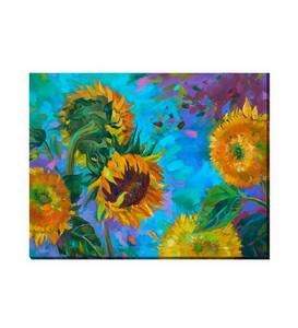 Sunflower on Blue Outdoor Canvas Wall Art