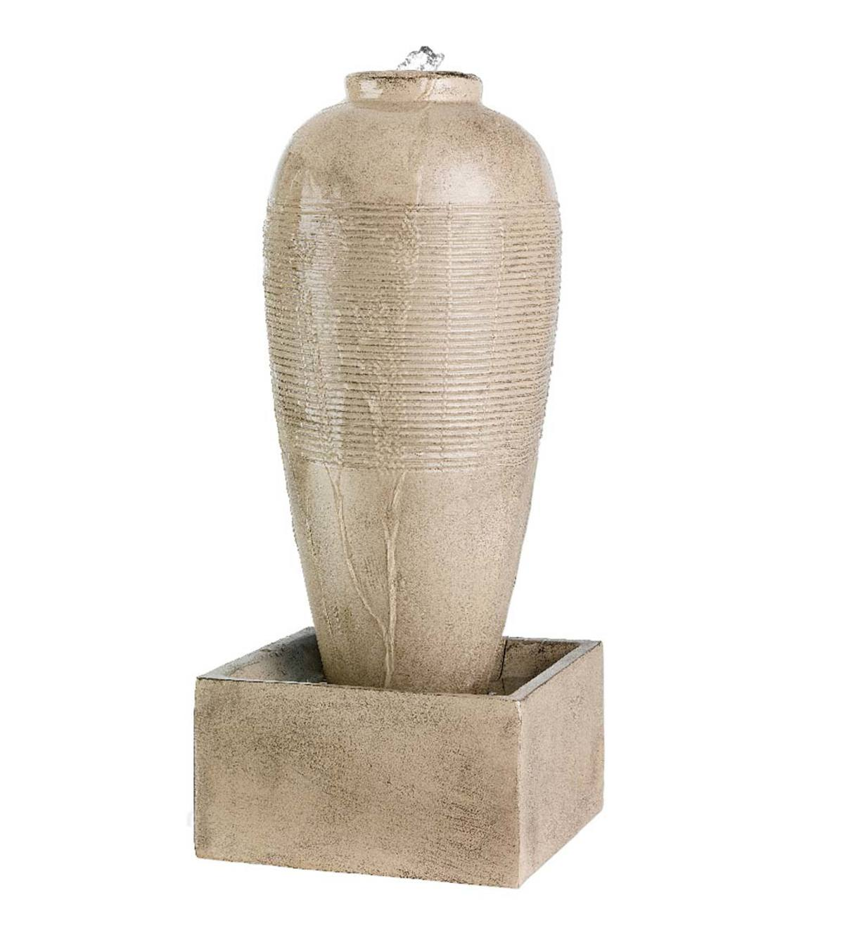 Small Beige Indoor/Outdoor Jar Fountain