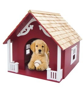 Wooden Heart Dog House - Red