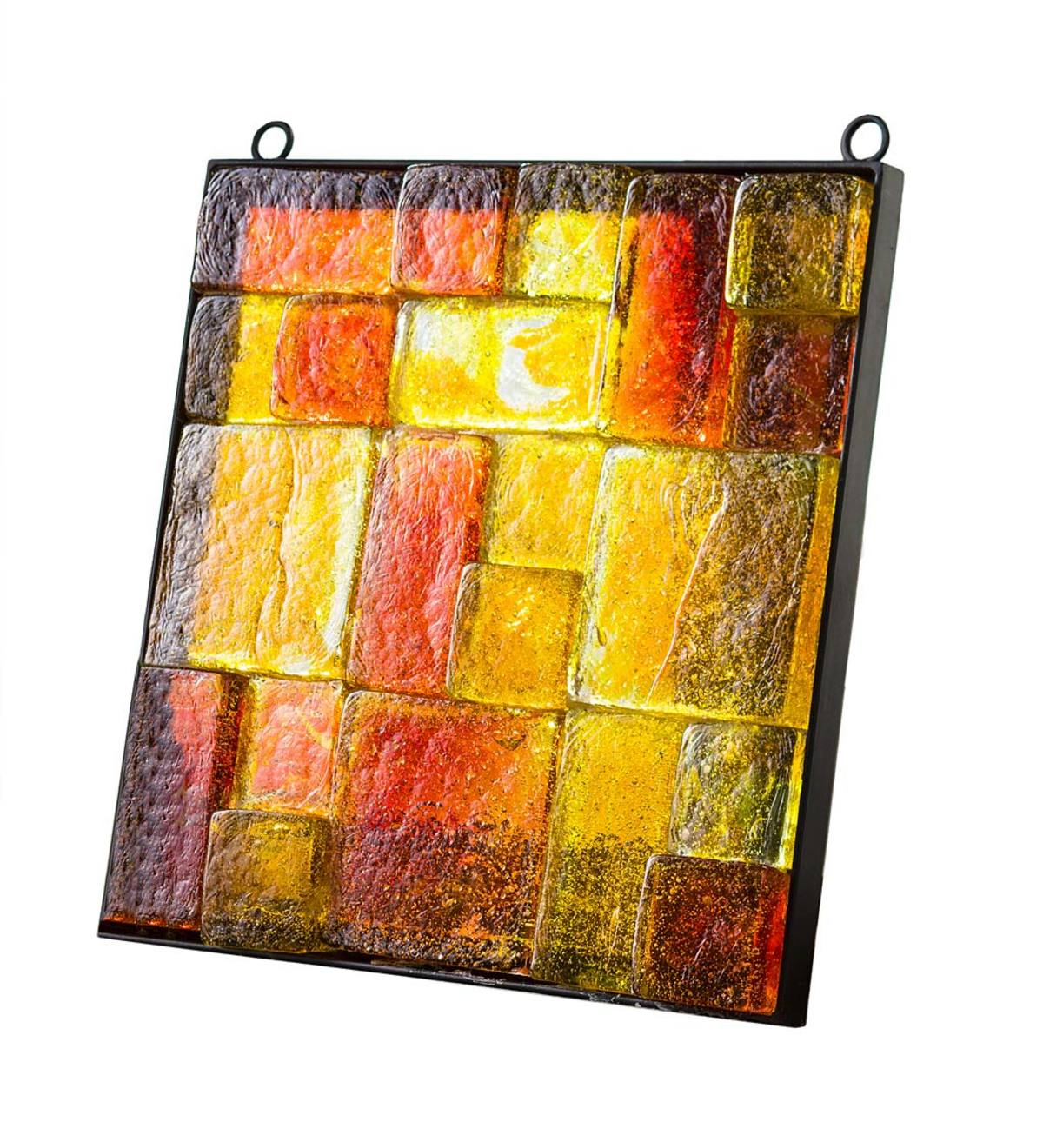 Metal-Framed Colorful Glass Block Wall Art - Red