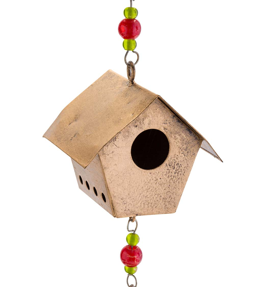 Golden Metal Handcrafted Bird and Bird Houses Wind Chime