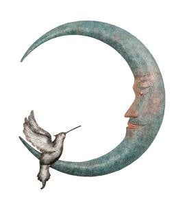 Crescent Moon and Hummingbird Metal Wall Art