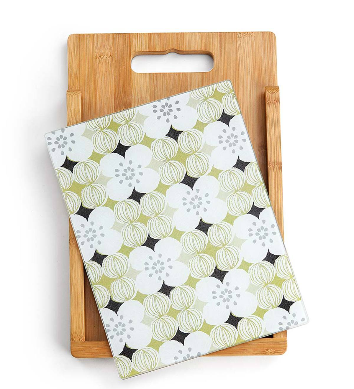 Wood and Glass Floral-Patterned Cutting Board