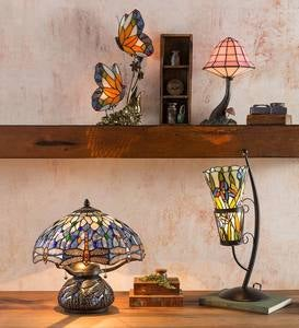Tiffany-Style Stained Glass Table Lamp with Dragonfly Motif and Metal Base