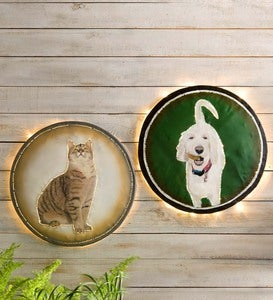 Custom-Painted Pet Portrait Reclaimed Metal Drum Lid Wall Art