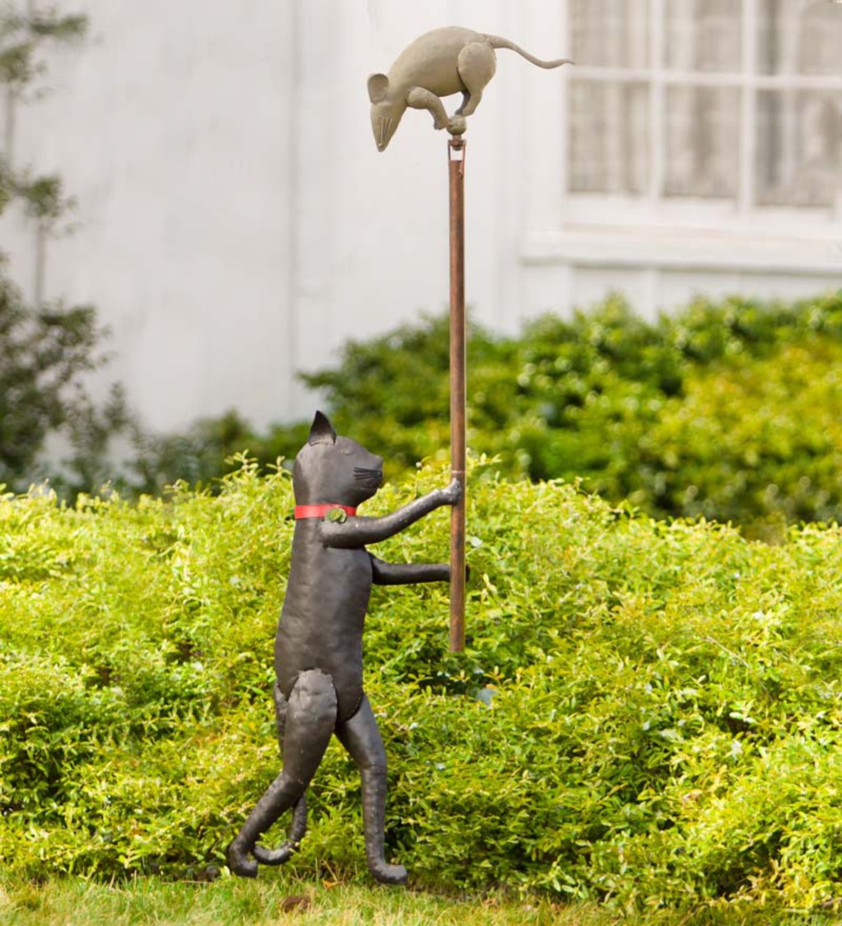 Handcrafted Cat And Mouse Balancer Garden Accent