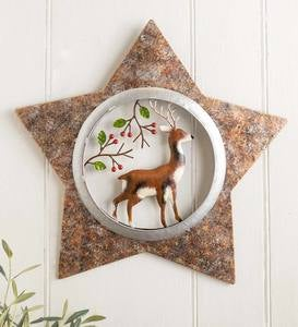 Handcrafted Deer in Star Metal Holiday Wall Art
