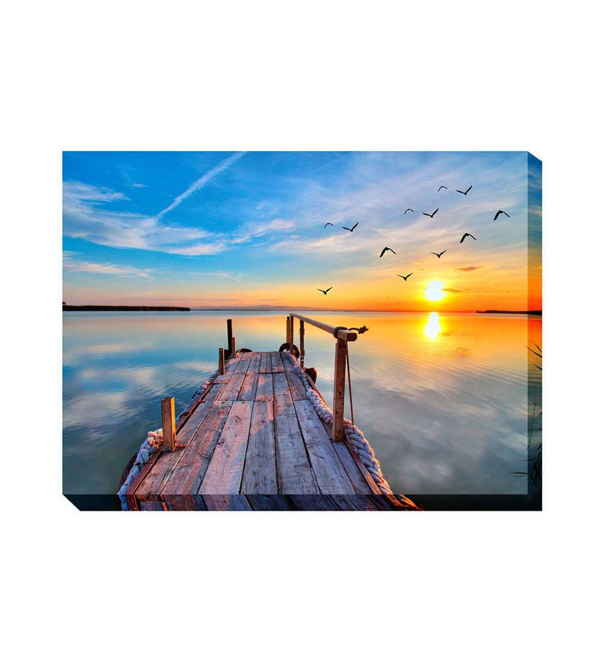 Fishing Dock Outdoor Photographic Canvas Wall Art