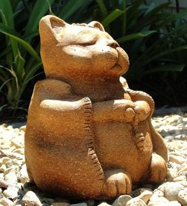 Large Meditating Cat Garden Stone Sculpture - Antique
