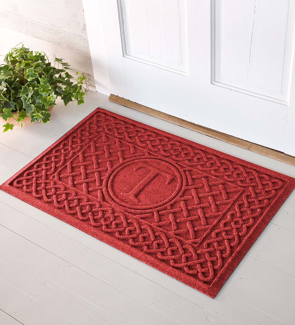 Waterhog Cable Weave Doormat with Single Initial, 2' x 3' - Red