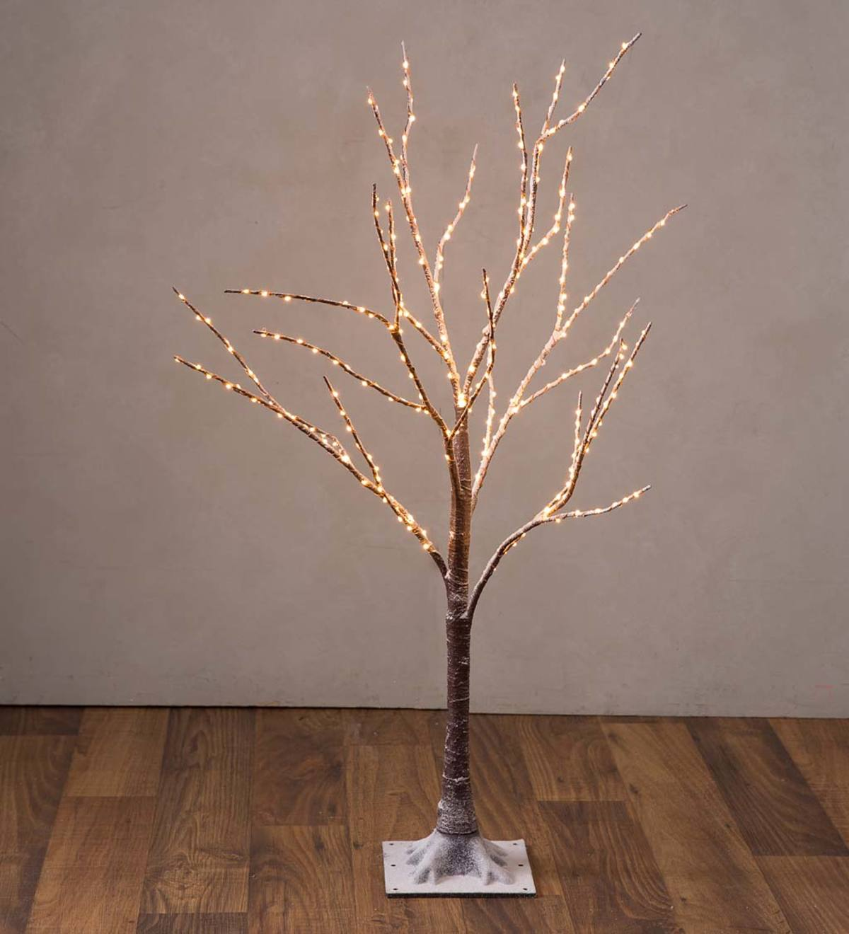 Small Indoor/Outdoor Birch Tree with 300 Warm White Lights - Brown