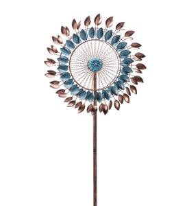 Blue and Copper Metal Leaf Wind Spinner