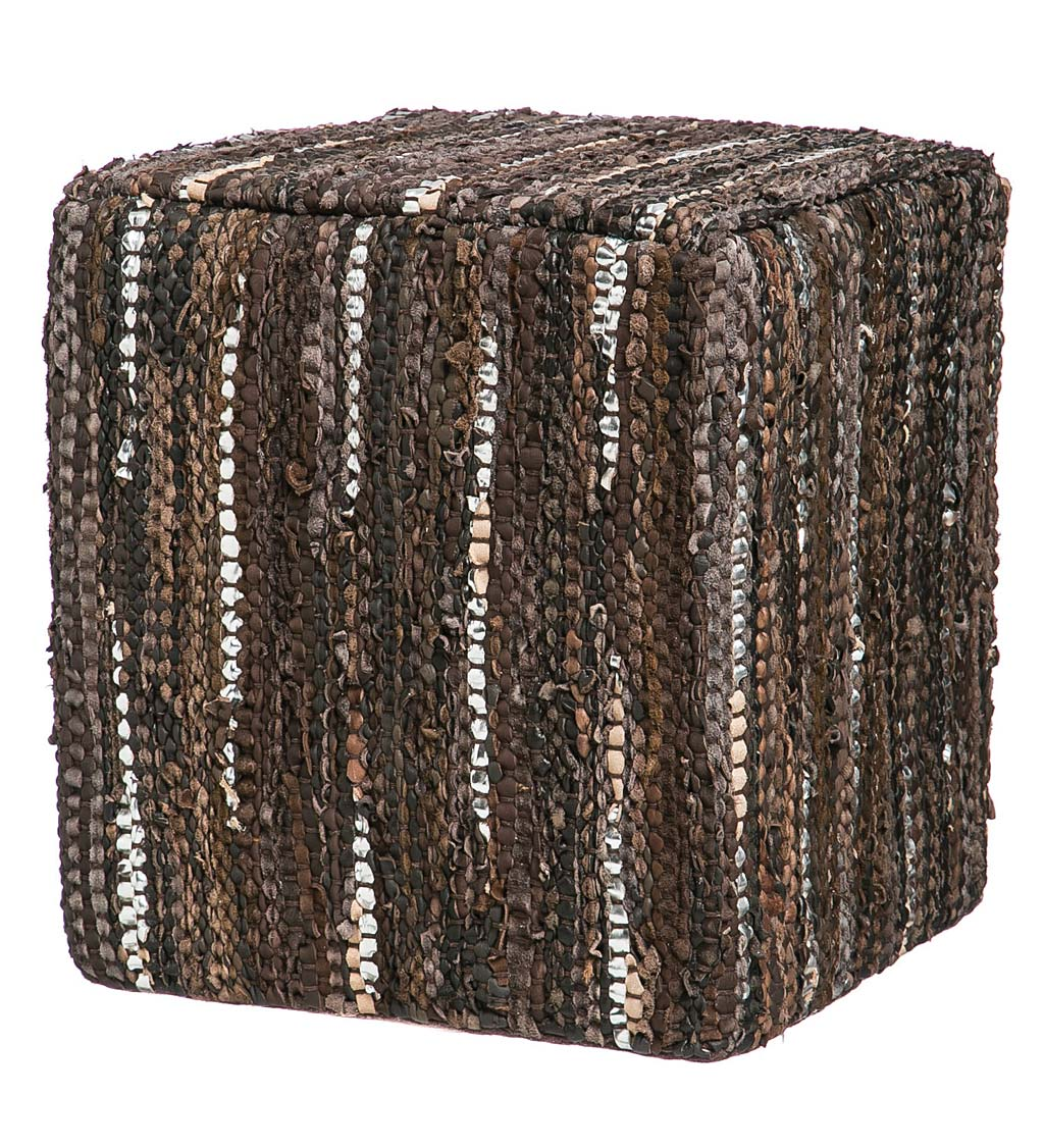 Patterned Leather Pouf Ottoman - Brown