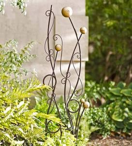 Gold and Brown Abstract Metal Trellis