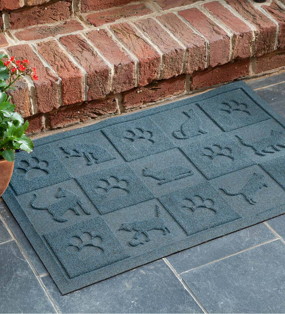 Waterhog™ Doormat with Cat Design - Bluestone