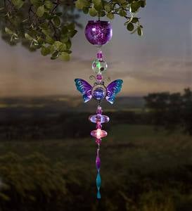 Solar Mercury Glass Butterfly Mobile
