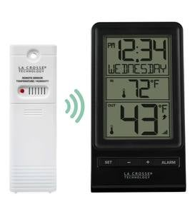 La Crosse Indoor/Outdoor Black & White Thermometer with Remote Sensor