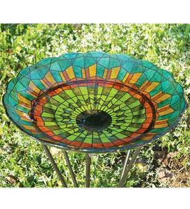 Stained Glass Birdbath - Blue