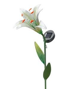 Solar Lighted Metal Lily Garden Stake - Silver
