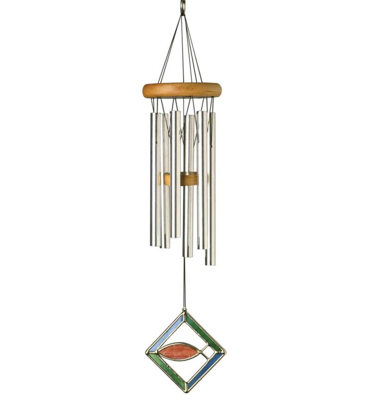 Musically Tuned Sign Of Faith Wind Chime With Stained Glass Wind Catcher