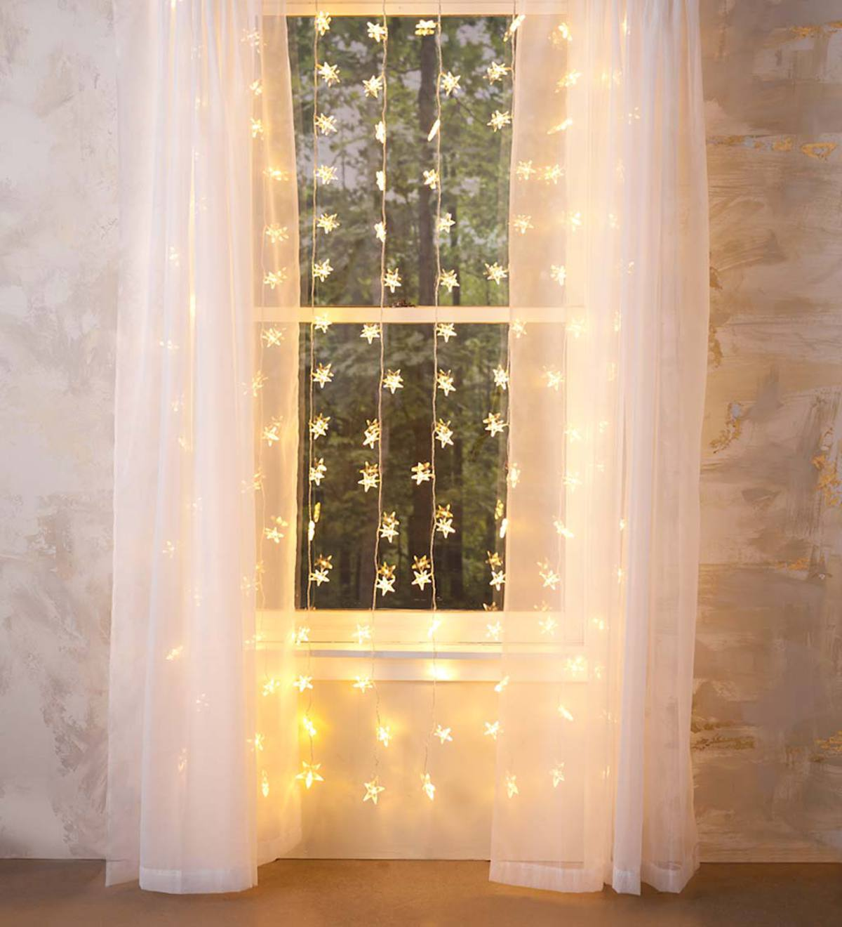 "Electric Star Curtain Lights on Clear Wire, 128 Lights, 78""L"
