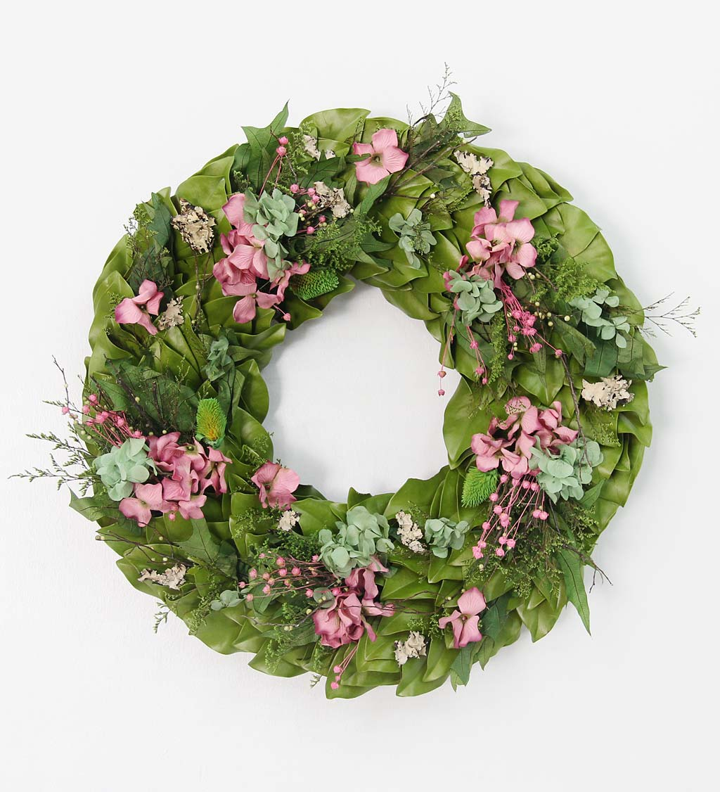 "Handcrafted 18"" Preserved Raspberry Hydrangeas Wreath"