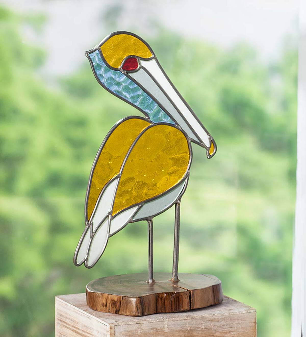 Stained Glass Pelican on Teak Wood Base